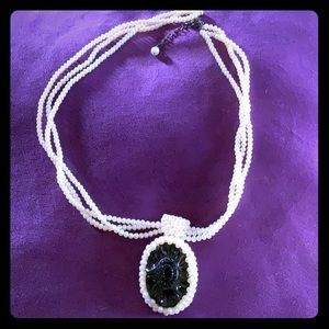 3 strand seed pearl cameo center necklace